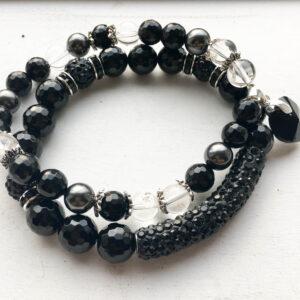 Ahhaat kvartskristall käevõrude komplekt (2 tk) Swarosvski helmeste ja ripatsiga
