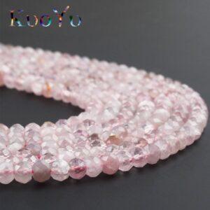 Roosa tahutud kristall 2x4 mm